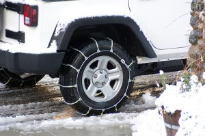 Tire Chains on Vehicle
